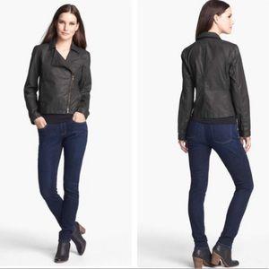 Eileen Fisher Black Waxed Cotton Moto Jacket
